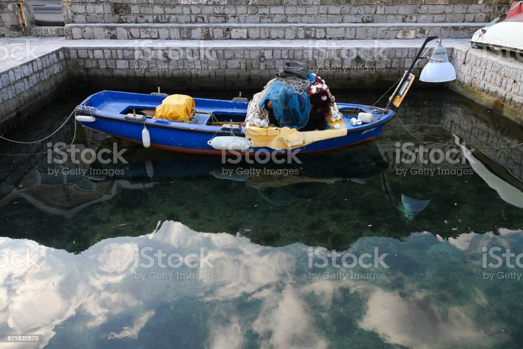 Fisherman boat with tackle stock photo