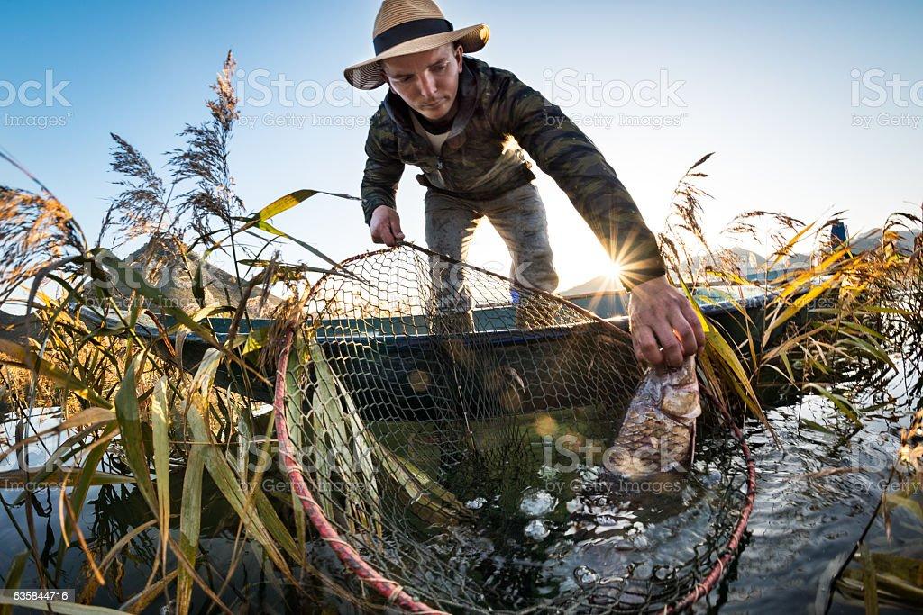 Fisherman catching carp fish stock photo