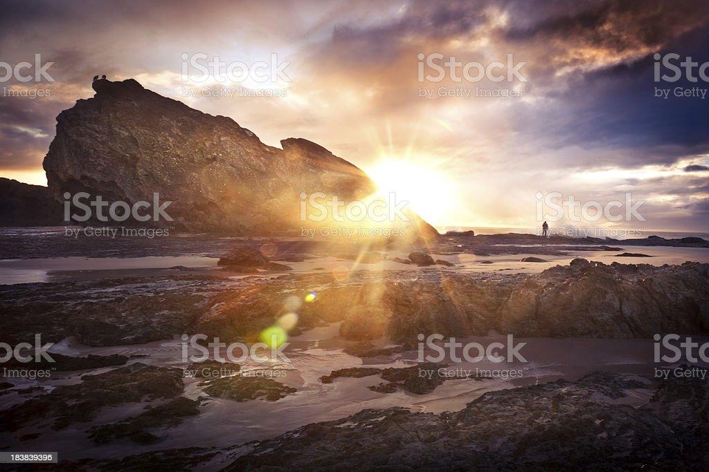 Fisherman enjoying the Sunrise royalty-free stock photo