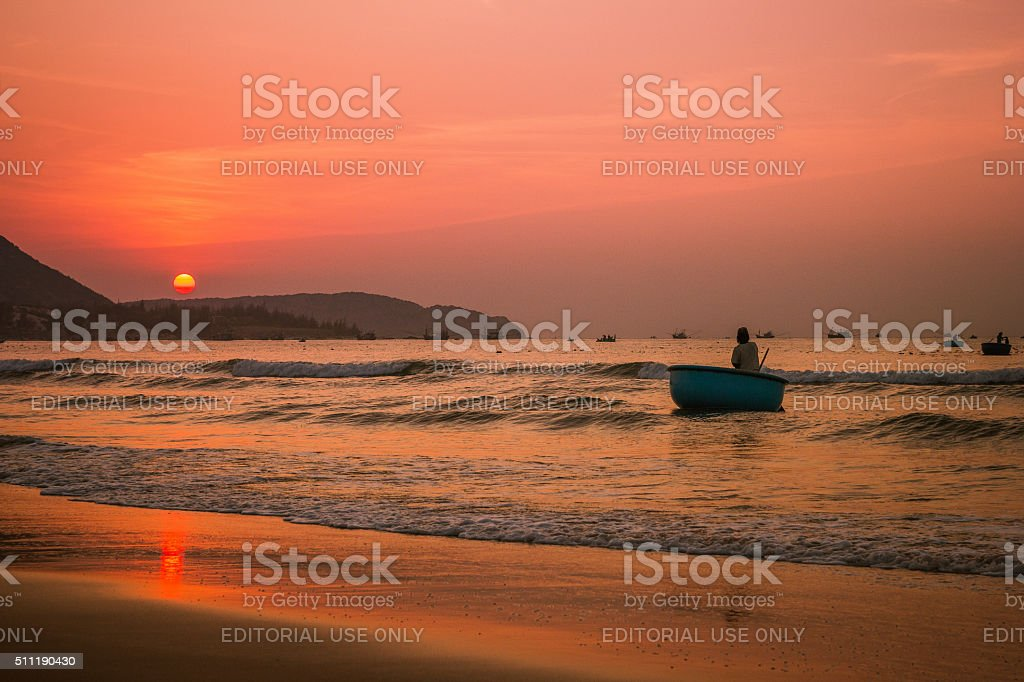 Fisherman go out for fishing stock photo