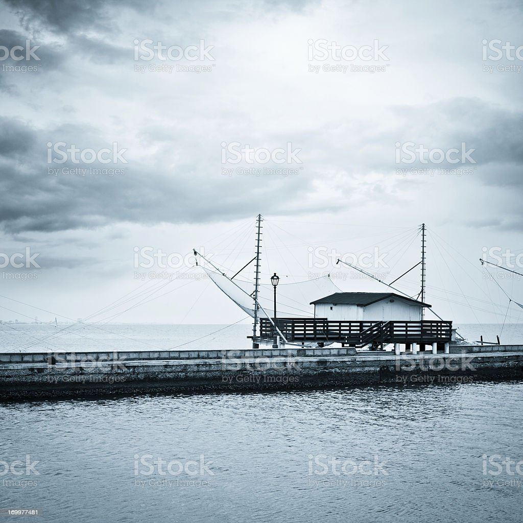 Fisherman House At Wharf, Blue Toned royalty-free stock photo