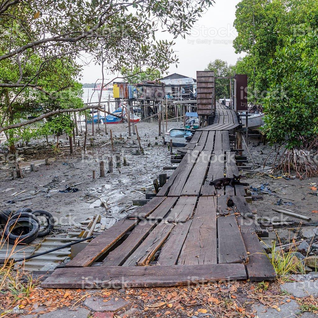 Fisherman houses on wooden stilts stock photo