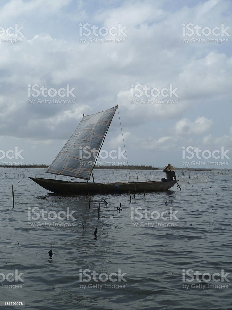 Fisherman in Benin, West Africa stock photo
