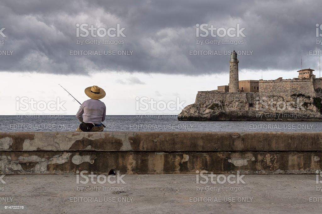 Fisherman in Cuba stock photo
