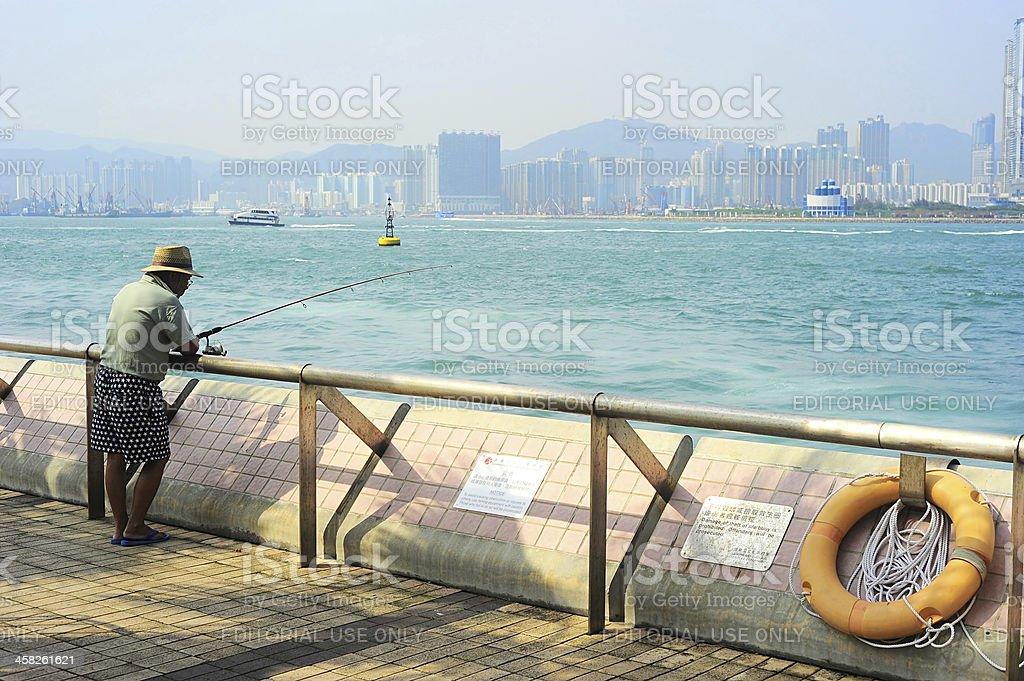 Fisherman in Hong Kong stock photo