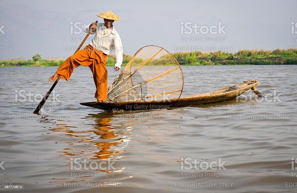 Fisherman in Inle Lake, Shan State, Myanmar (Burma) stock photo