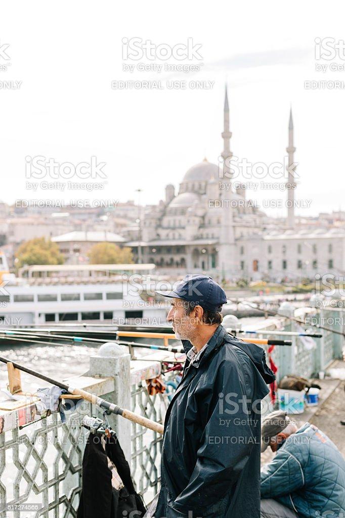 Fisherman in Istanbul, Turkey stock photo