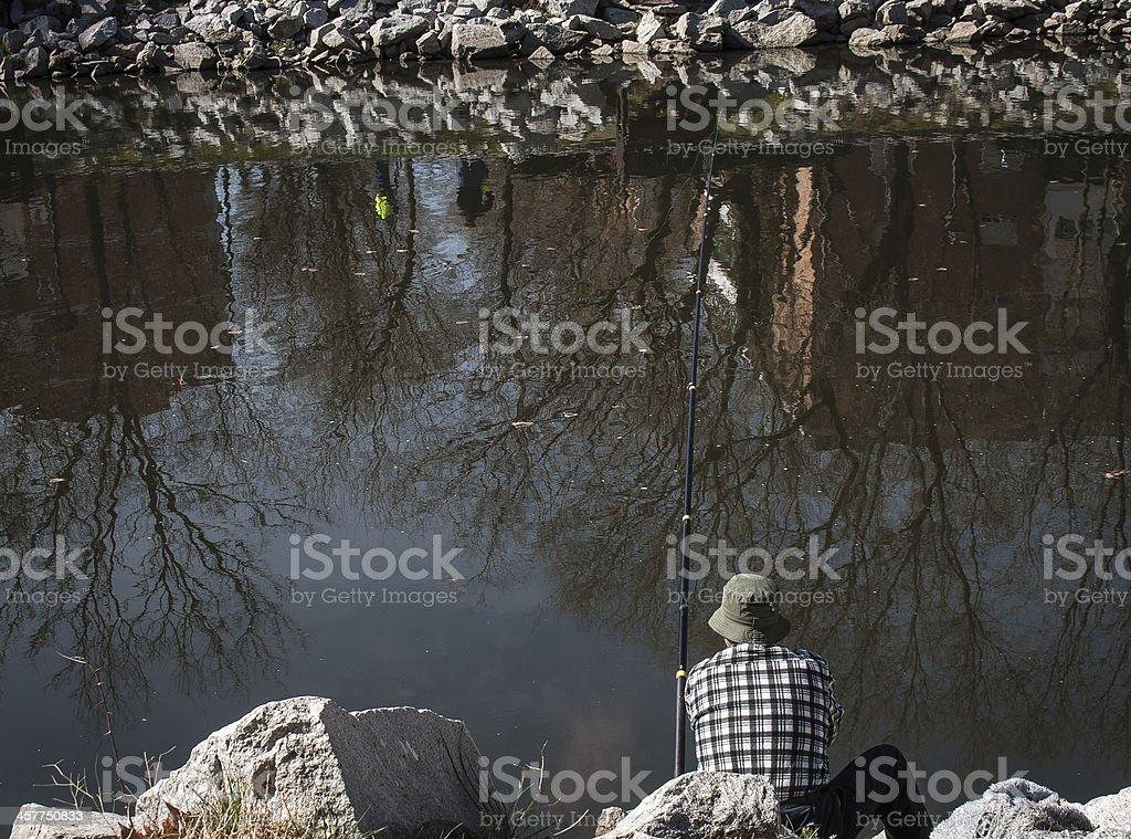Fisherman in Madrid stock photo
