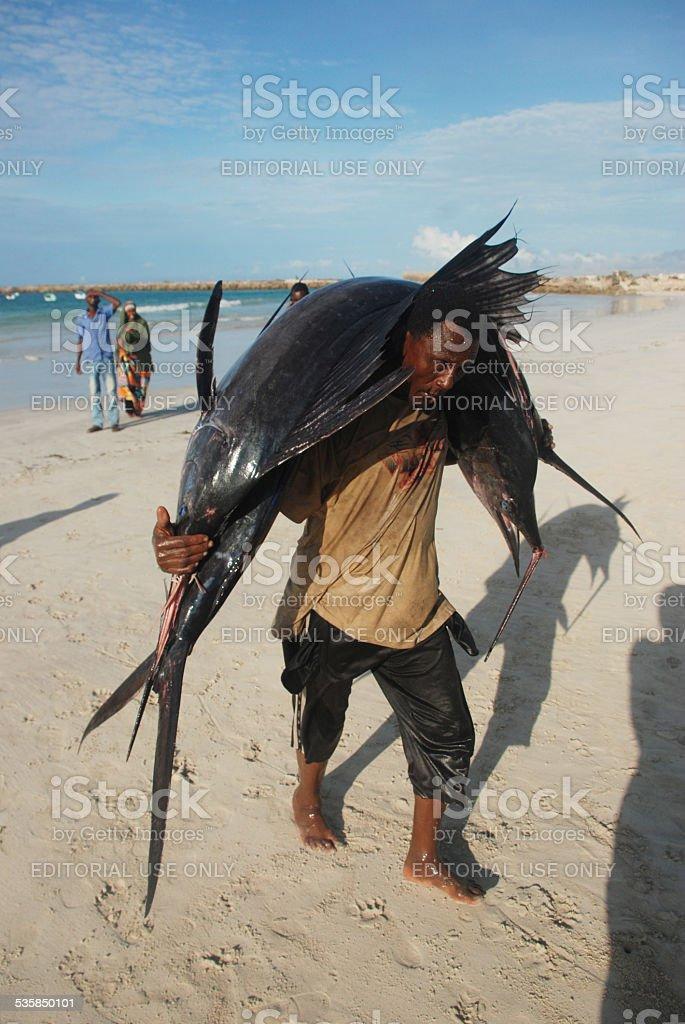 Fisherman in Somalia. stock photo