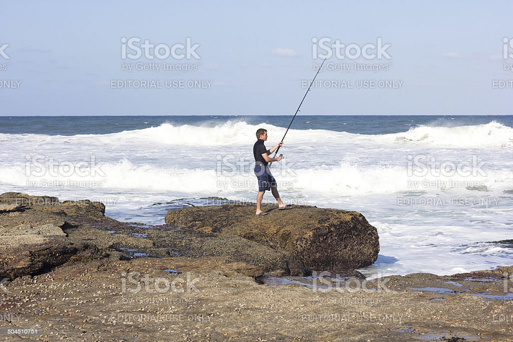 Fisherman in Uvongo, South Africa royalty-free stock photo