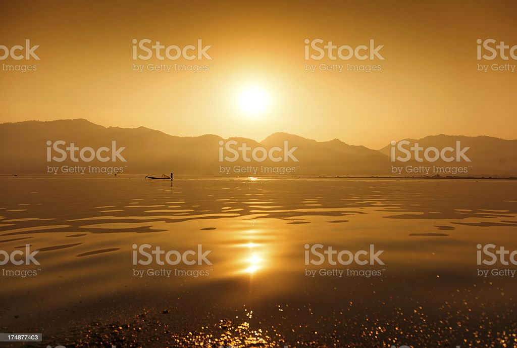 Fisherman, Inle Lake, Myanmar stock photo