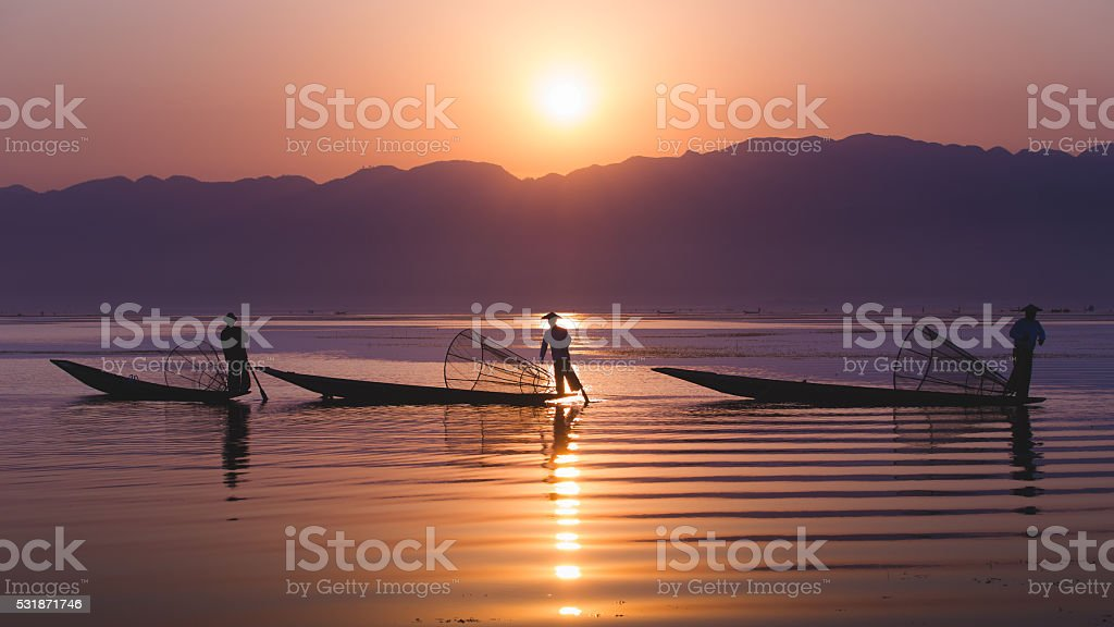 Fisherman inle stock photo