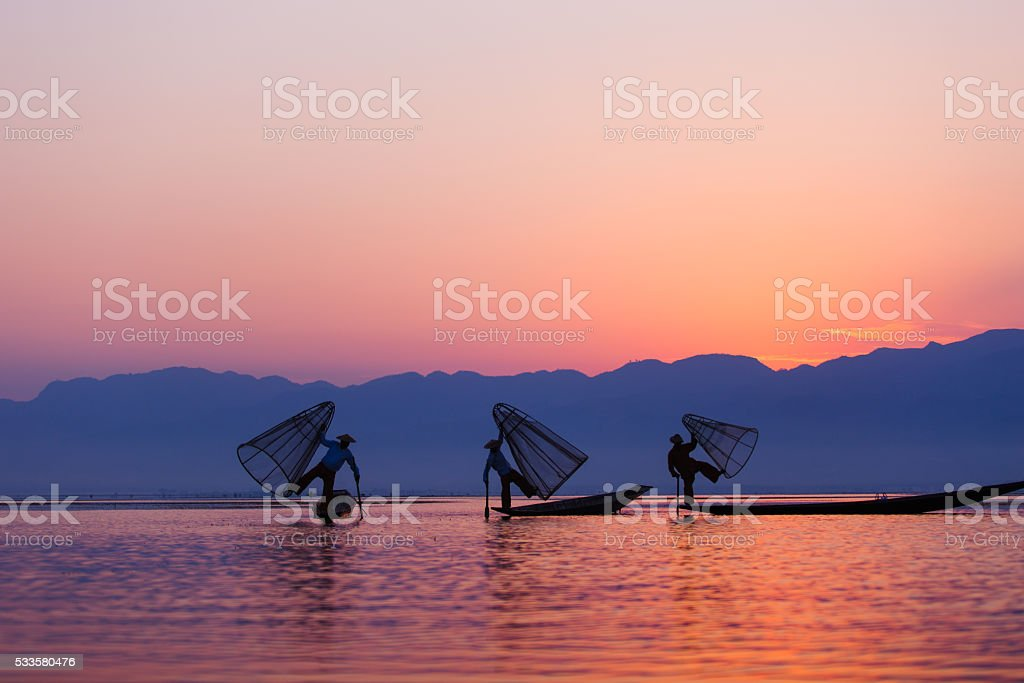 Fisherman inle stock photo