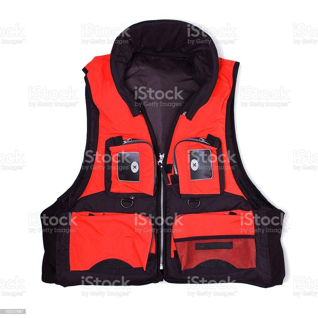 Fisherman life jacket with pockets stock photo