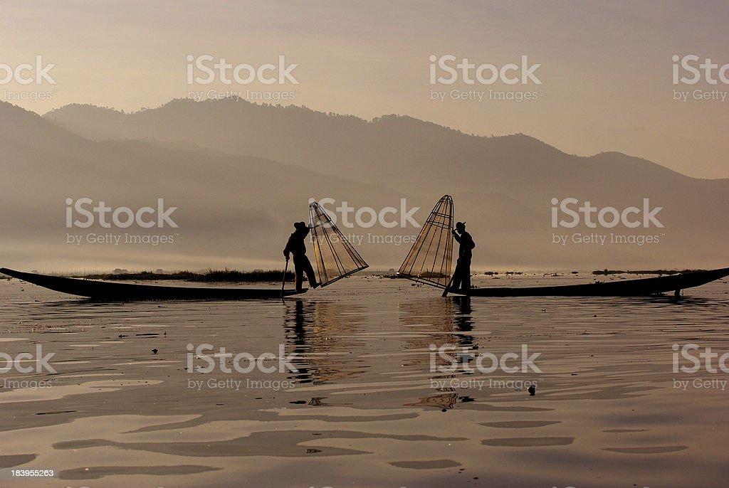 Fisherman of Inle Lake, Myanmar royalty-free stock photo