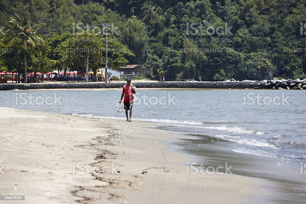 Fisherman on beach shoreline royalty-free stock photo