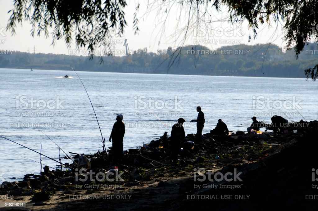 Fisherman on Danube river, Galati County, Romania stock photo