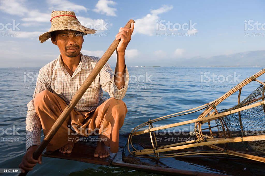 Fisherman on Inle Lake, Myanmar stock photo