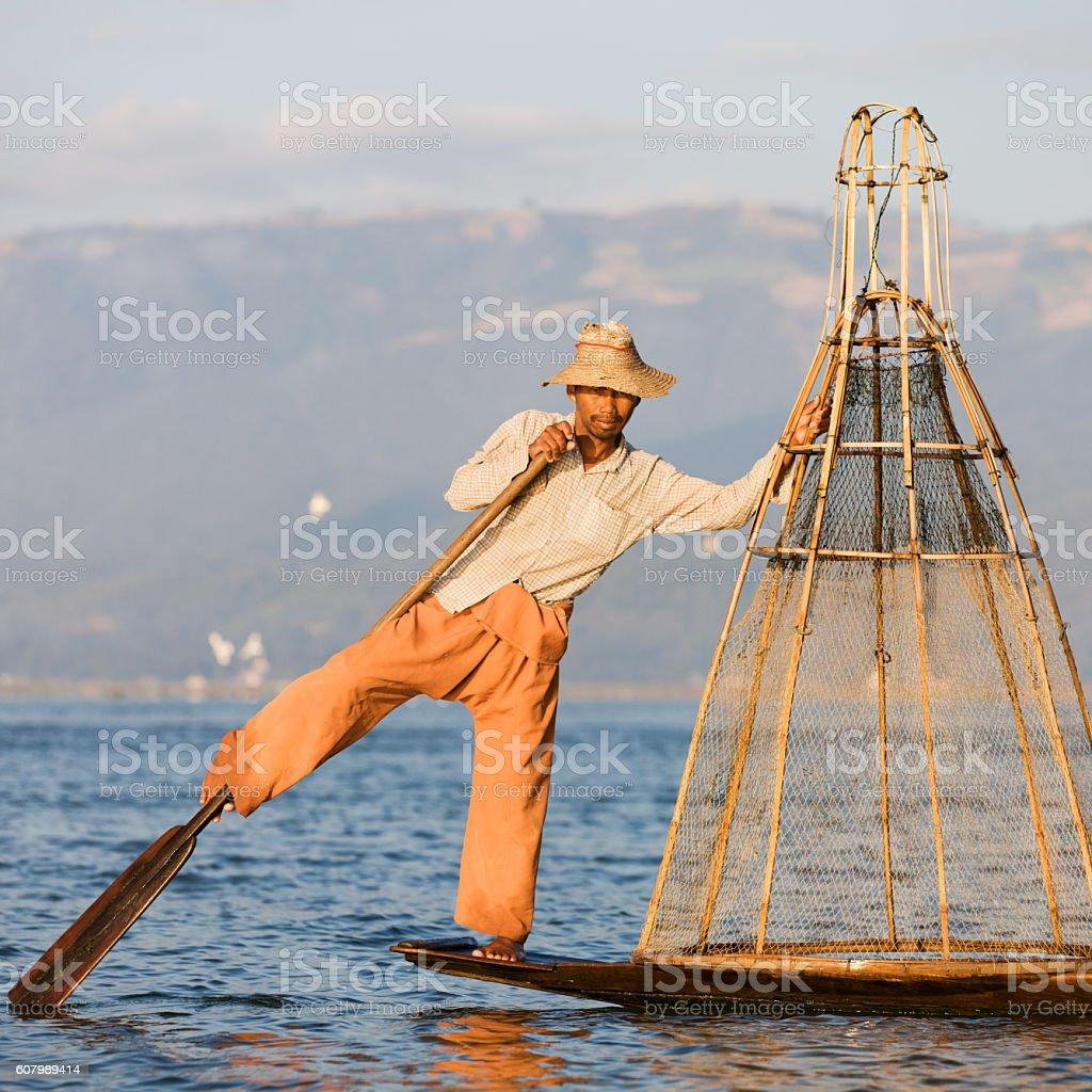 Fisherman on Inle Lake, Myanmar stock photo