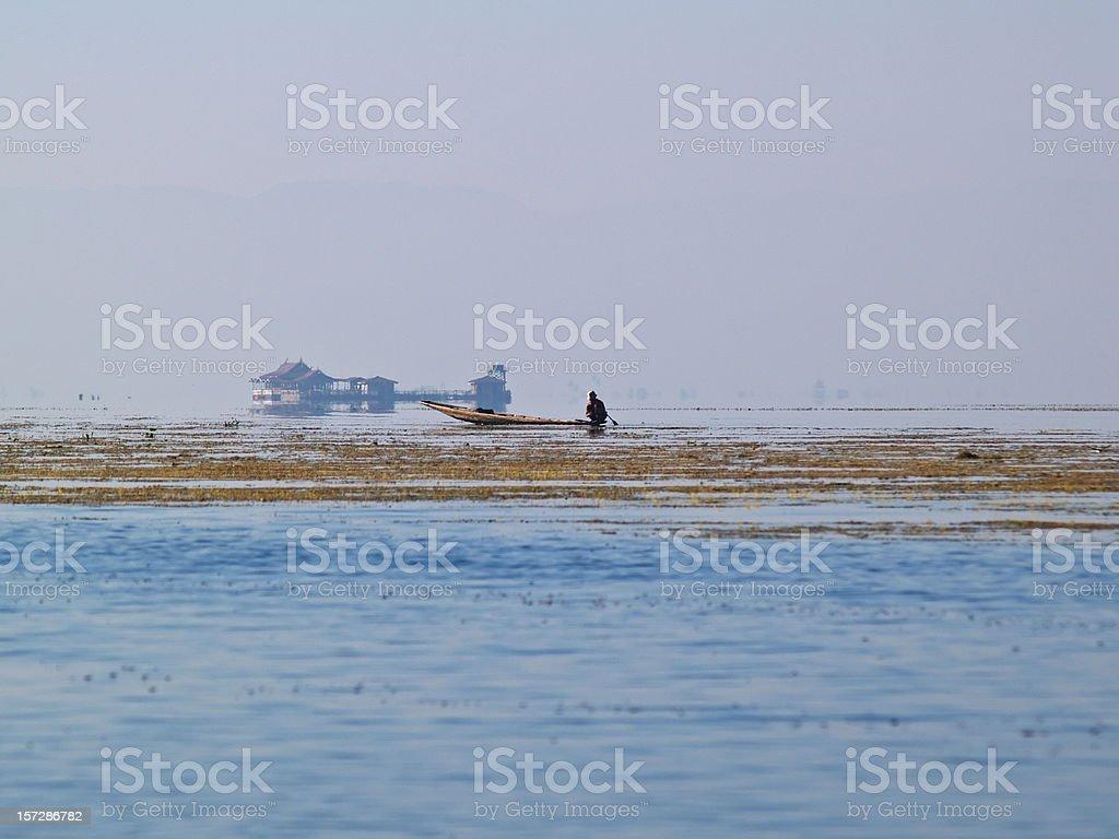 Fisherman on Inle Lake stock photo
