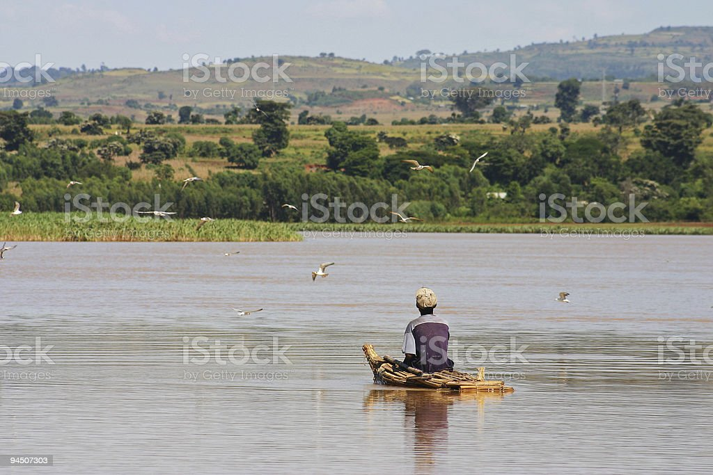 Fisherman on Lake Tana stock photo