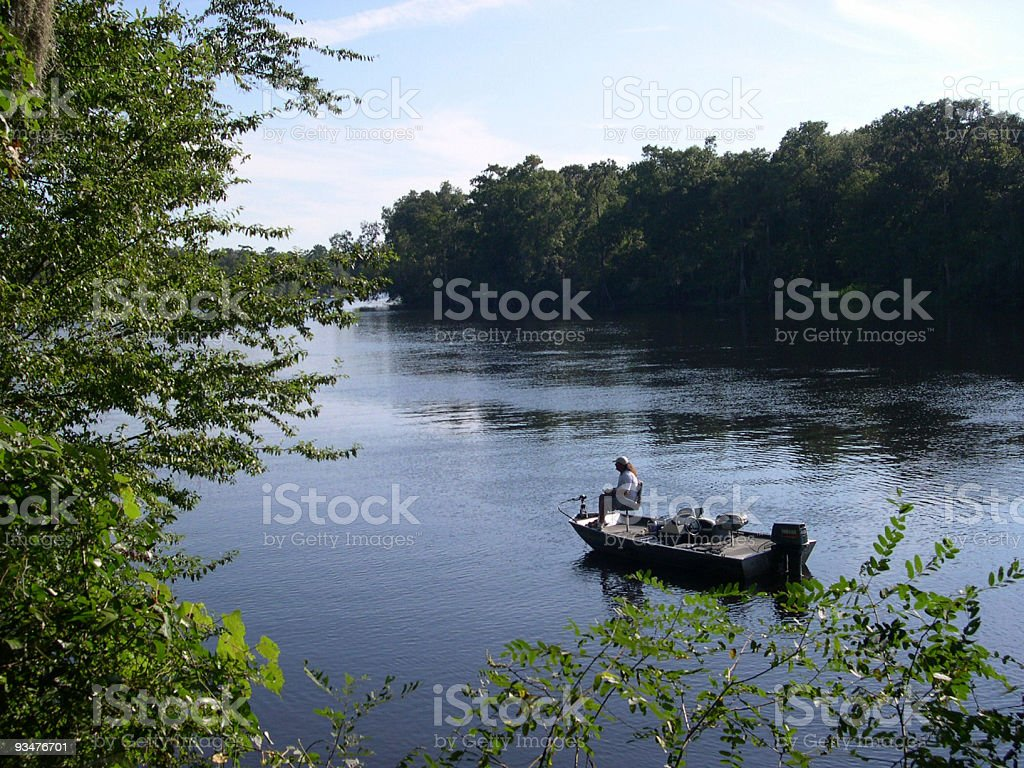 Fisherman on Suwannee River stock photo