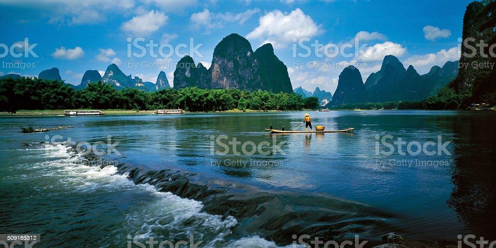 Fisherman on the Li River in Guilin stock photo