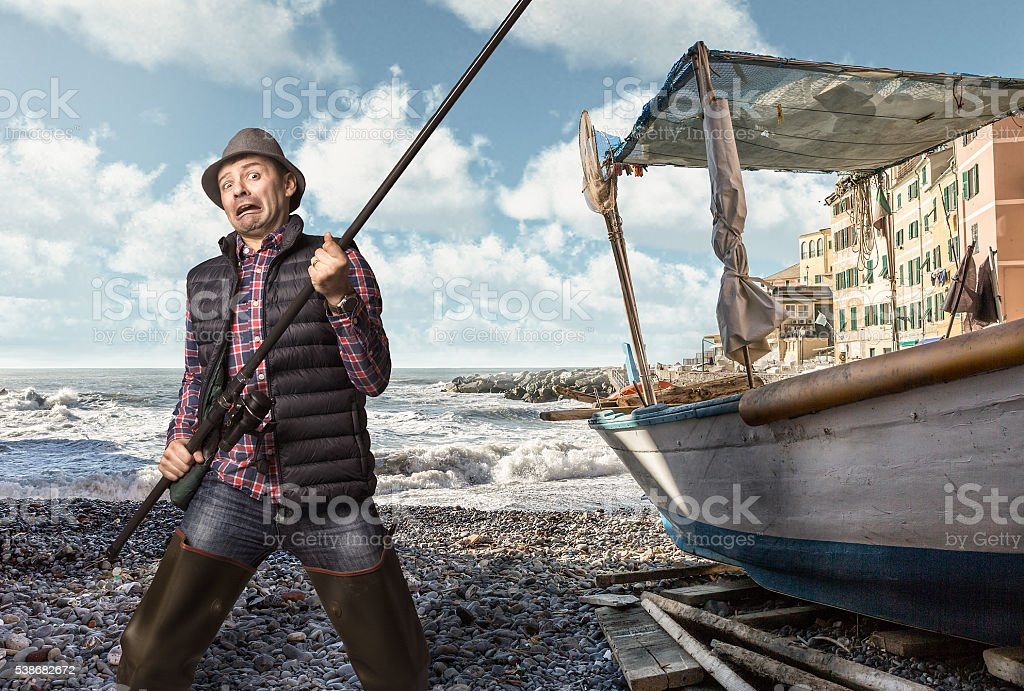 fisherman problems concept stock photo
