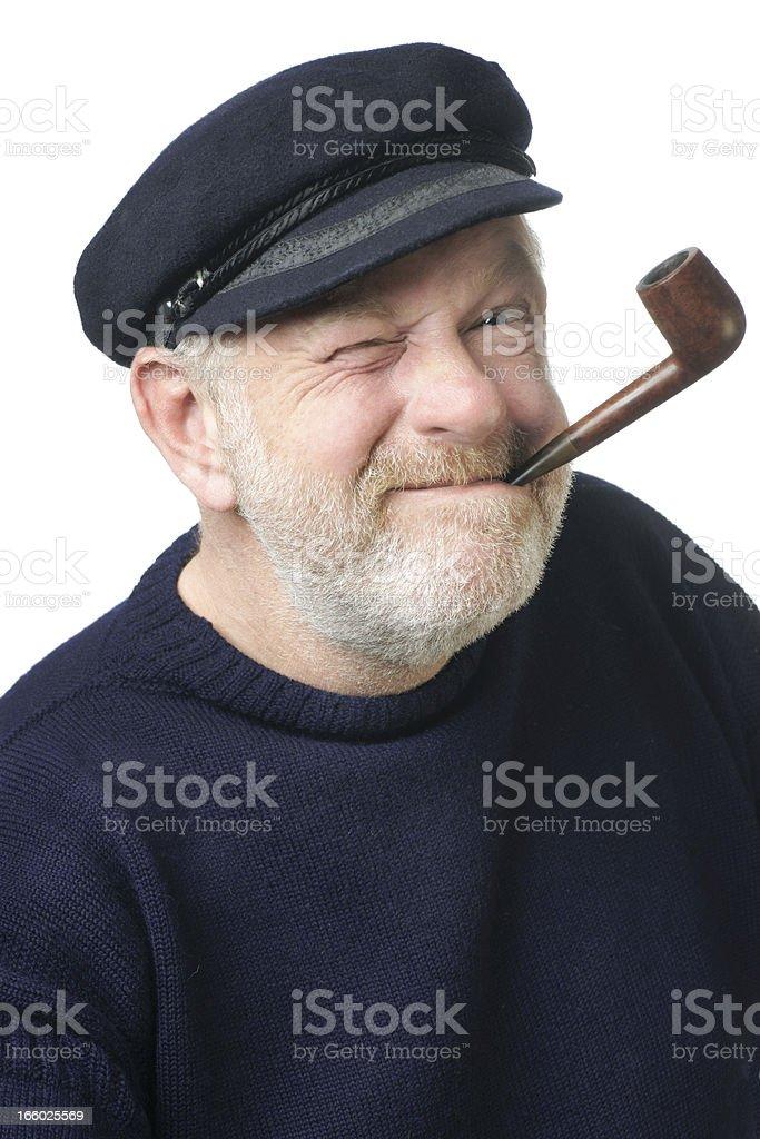 Fisherman pulling a Popeye face. stock photo