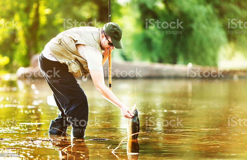 Fisherman pulling out his catch. stock photo