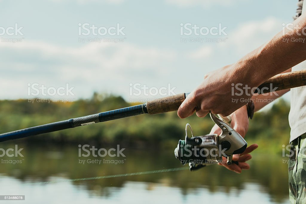 fisherman, river, spinning stock photo