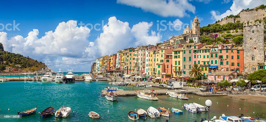 Fisherman town of Portovenere, Liguria, Italy stock photo