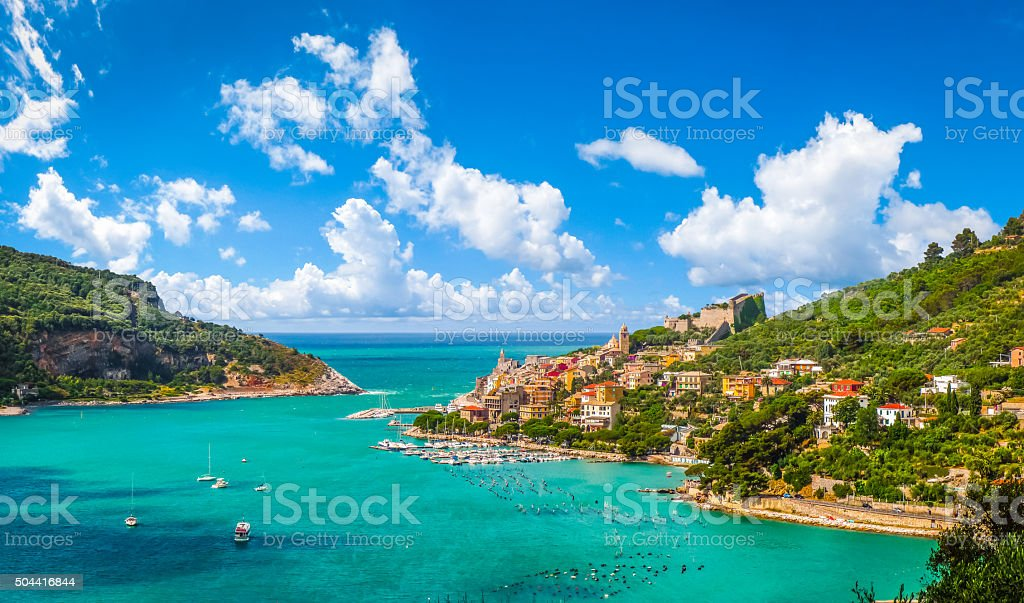 Fisherman town of Portovenere, Liguria, Italy stock photo
