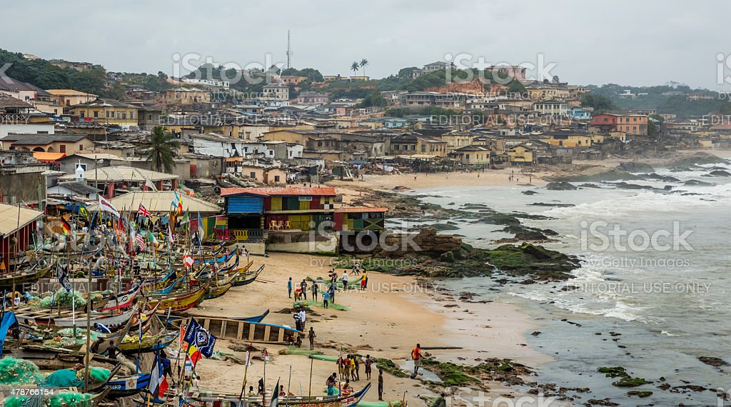Fisherman village in Ghana stock photo