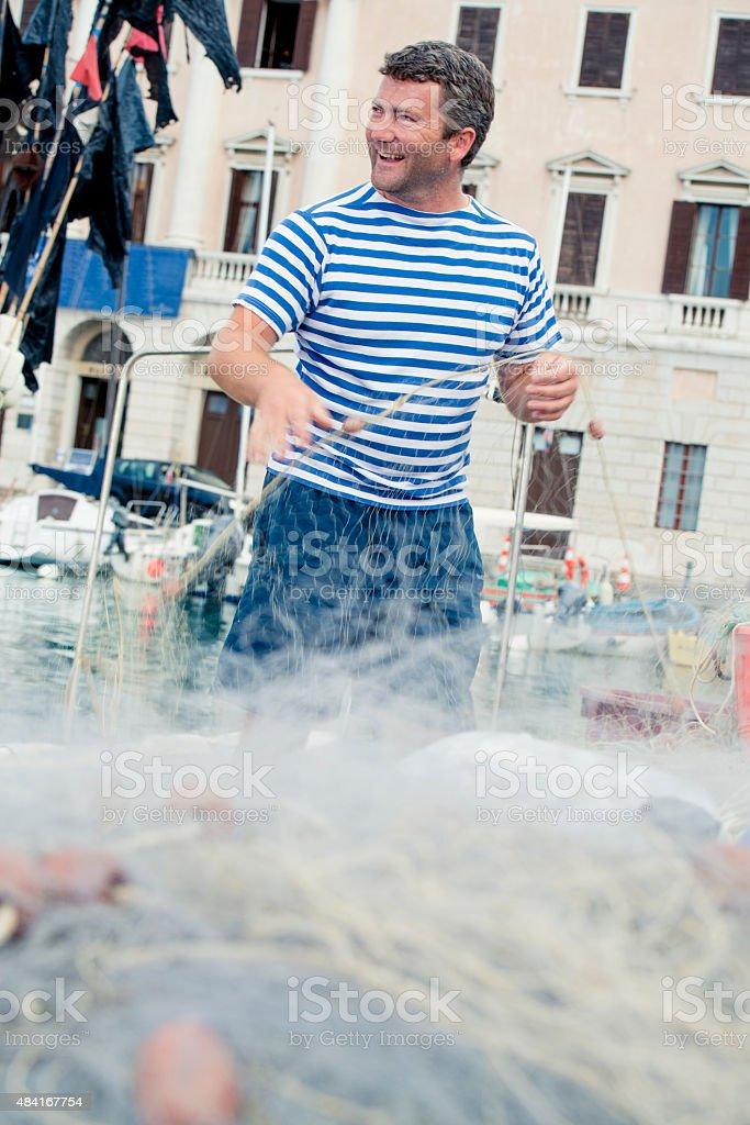 Fisherman Working stock photo