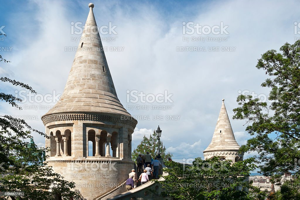 Fisherman´s Bastion on the Buda Castle hill with tourist royalty-free stock photo