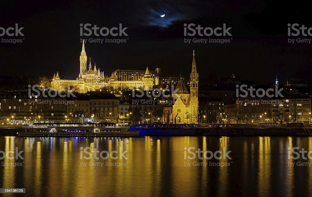 Fisherman's Bastion and Budai Reformatus night view, Budapest, Hungary. royalty-free stock photo