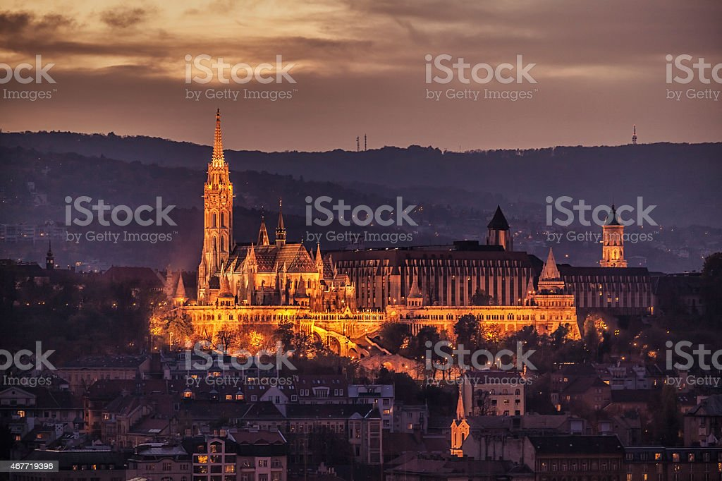 Fisherman's Bastion night - Budapest - Hungary stock photo