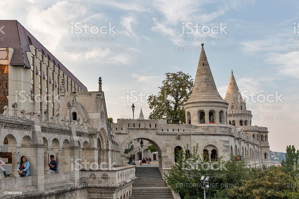 Fisherman's Bastion on Buda Hill in Budapest, Hungary. stock photo