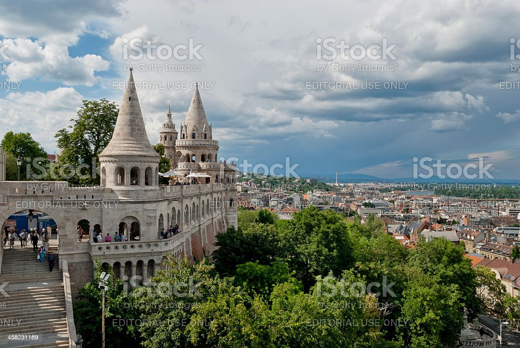 Fishermans Bastion on the Buda Castle hill with tourist stock photo