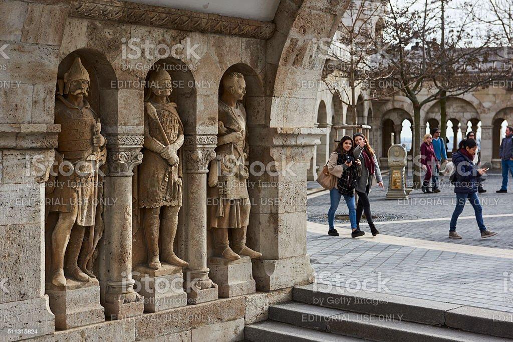 Fisherman's Bastion statues stock photo