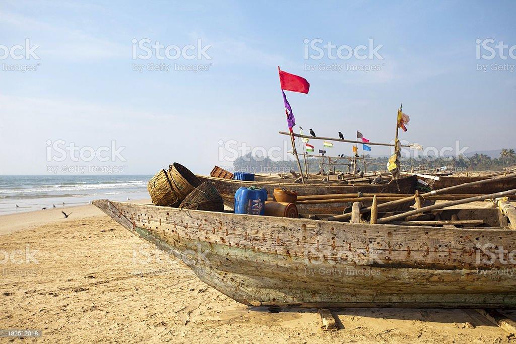 Fisherman's boat at coastline of Arabian Sea stock photo