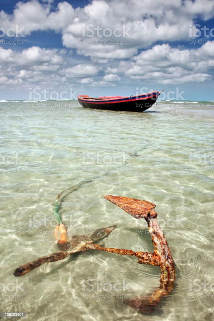 Fisherman's Boat in Jericoacoara, Brazil stock photo