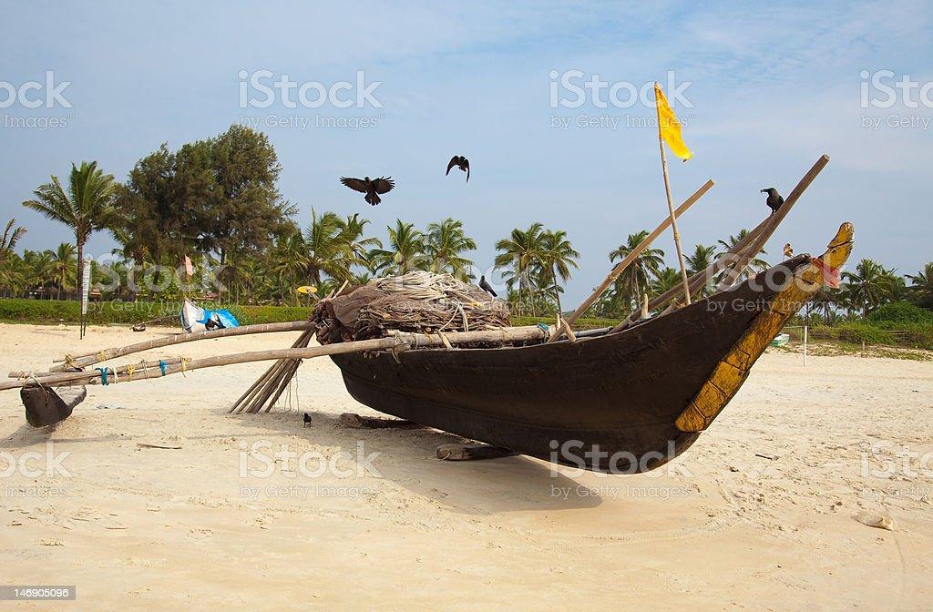 fisherman`s boat stock photo
