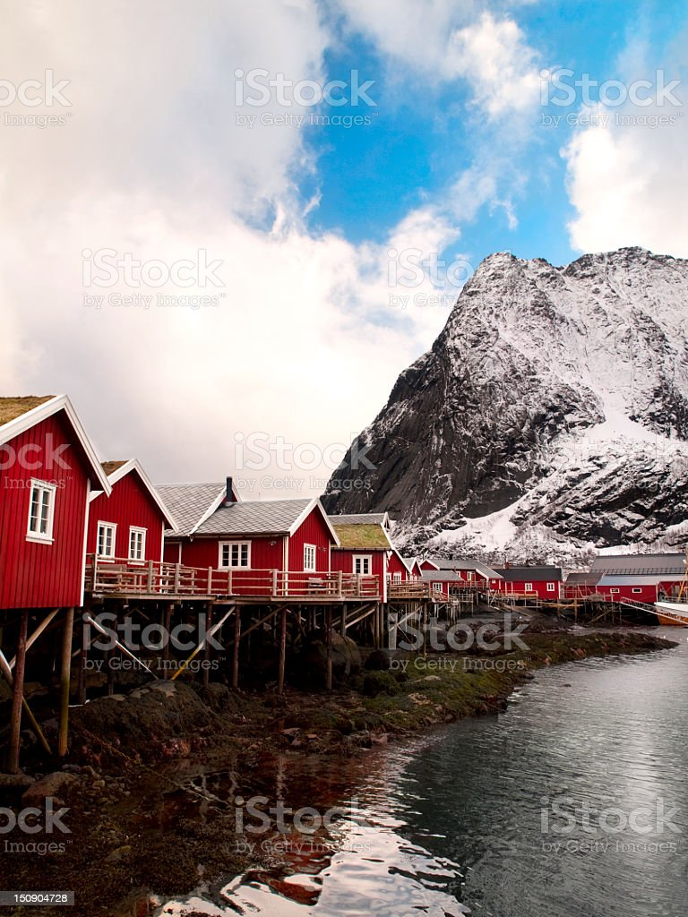 Fisherman's houses in Reine town. royalty-free stock photo