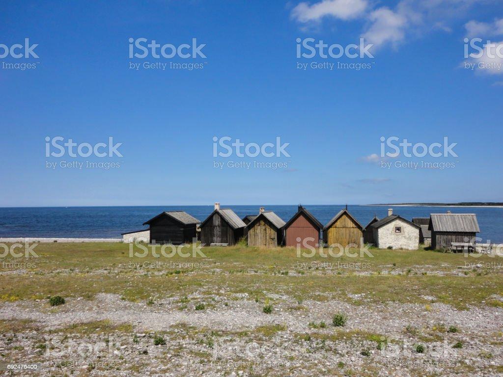 Fishermans hut stock photo