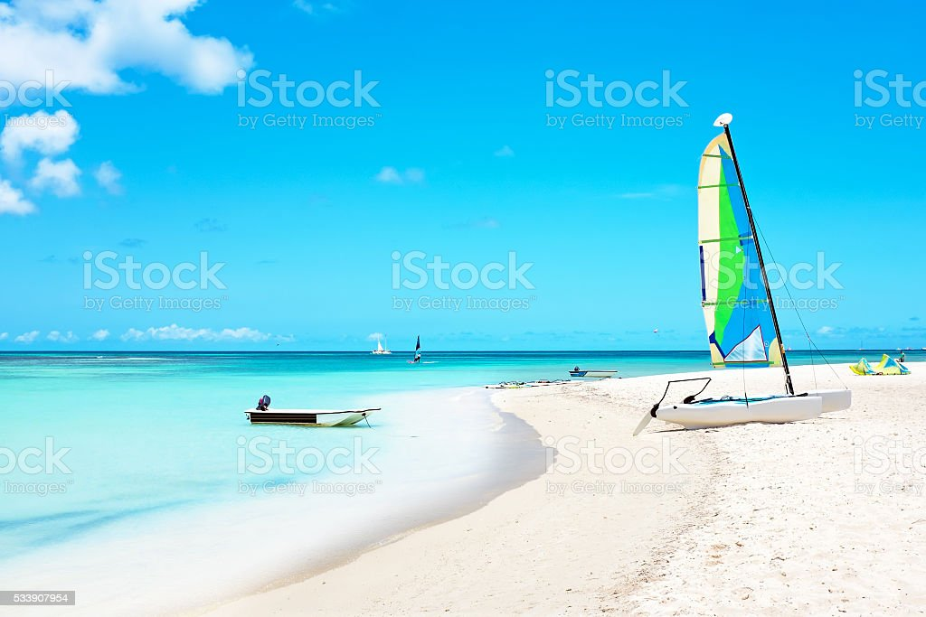 Fishermans Huts on Aruba island stock photo