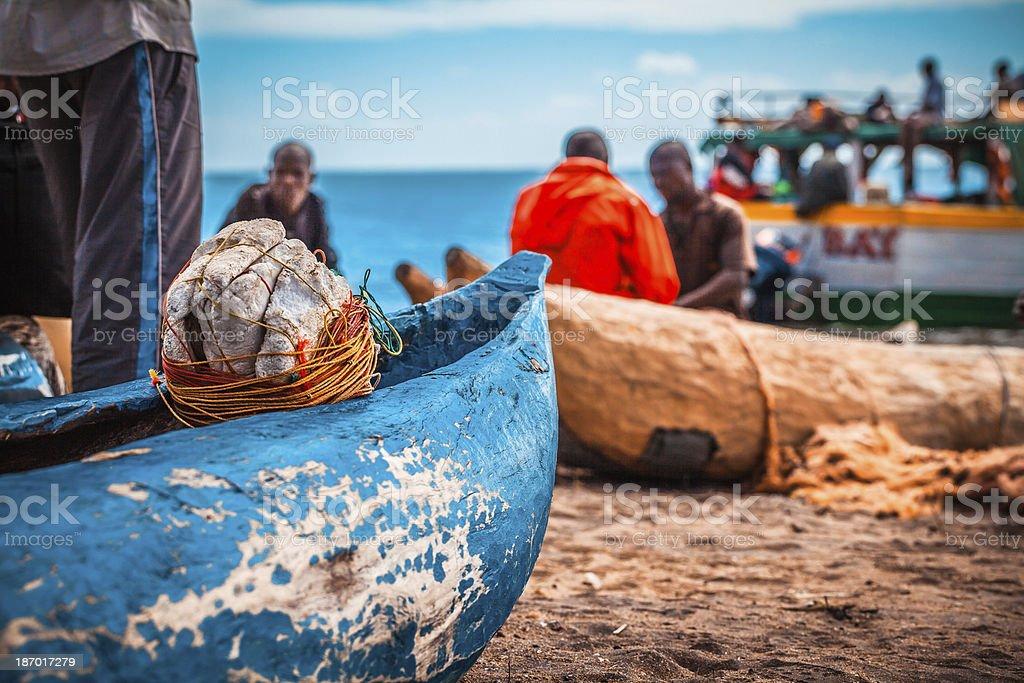 Fishermans in Malawi stock photo