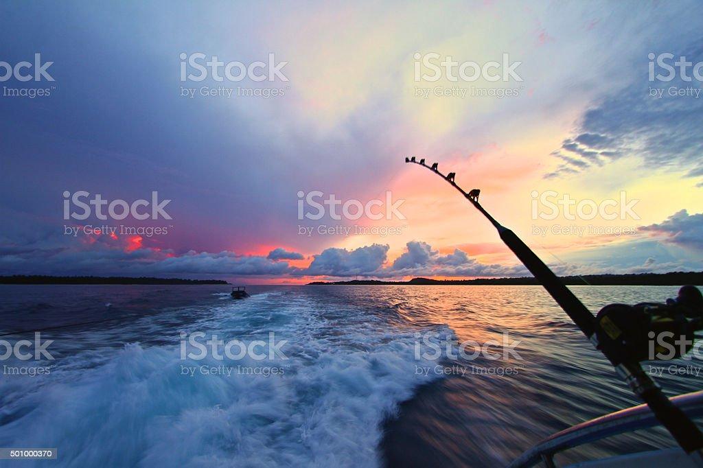 Fishermans sunset stock photo