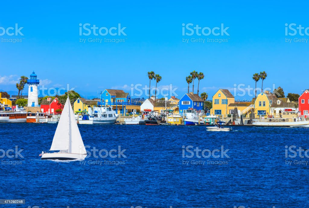 Fishermans Village at Marina Del Rey with waterfront lighthouse, stock photo